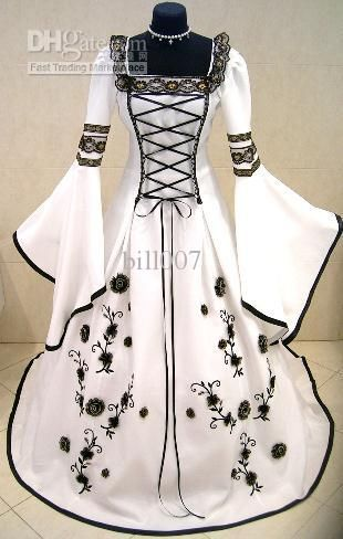 Wholesale MEDIEVAL WEDDING DRESS VICTORIAN GOTH FANCY PIRATE LARP X-MAS WHITE Custom Made Best Bridal Price, Free shipping, $156.8-179.2/Piece | DHgate