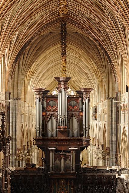 Organ at Exeter Cathedral, Devon, UK.