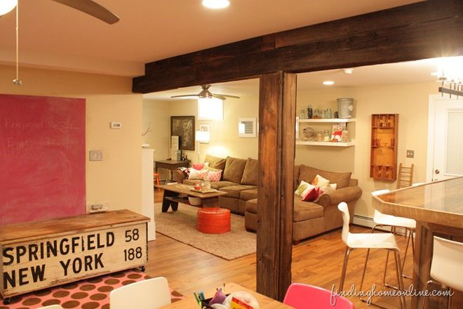 Decorating ideas: Basement Family room - Finding Home....I am LOVING these beautiful beams and column