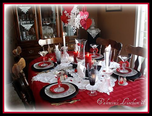 valentines red black white table setting just a
