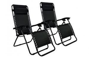Zero-Gravity-Chairs-Case-Of-2-Black-Lounge-Patio-Chair-Outdoor-Yard-Beach-Pool