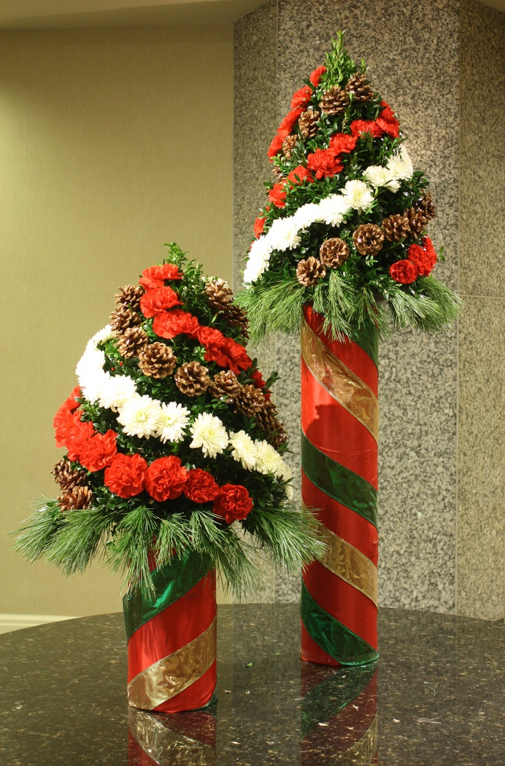 Holiday Boxwood Tree Centerpiece : Best christmas floral inspiration images on pinterest