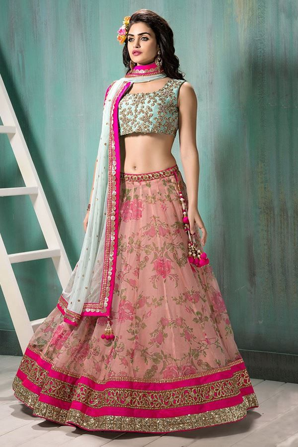 Designer Pink And Sea Green Lehenga