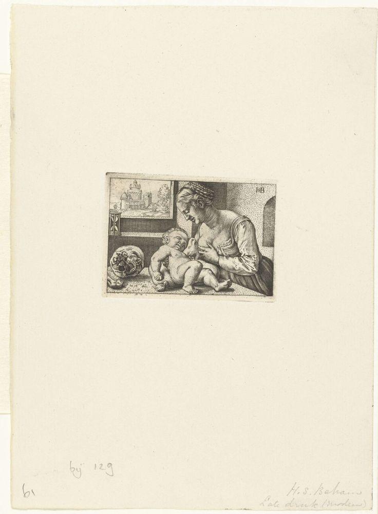 Anonymous   Maria geeft kind de borst en schedel, Anonymous, Barthel Beham, 1512 - 1590   Kopie naar een prent van Barthel Beham. Maria als een jonge moeder die haar kind de borst geeft. Twee vanitas symbolen contrasteren met dit jonge leven: op tafel ligt een schedel en voor het raam met een vergezicht staat een zandloper.