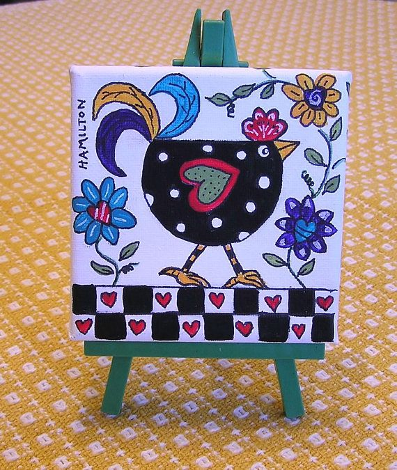 Folk art rooster small canvas painting mini canvas chicken