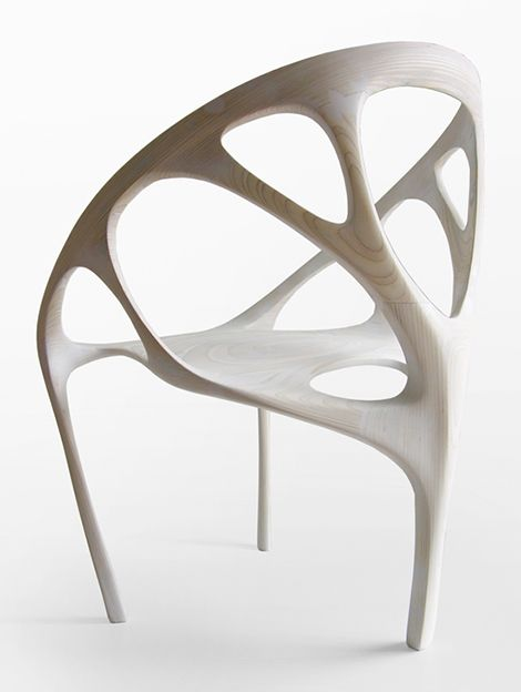 """Brazil No.2 is a limited-edition armchair designed by architect / Maya master Daniel Widrig, built from laminated plywood sheets via a 5-axis CNC router. Digitally prototyped through digital dynamics simulation""."