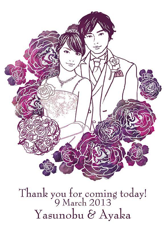 お客様の似顔絵ウェルカムボード。 イラストレーターはこちら)^o^( http://wedding.mypic.jp/data/0100/index.html