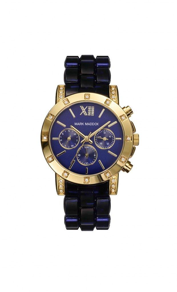 Reloj multifunción brazalete con cierre desplegable. Caja con acabado IP Dorado y pulsera color azul. Cristal mineral e impermeable 30m (3ATM).
