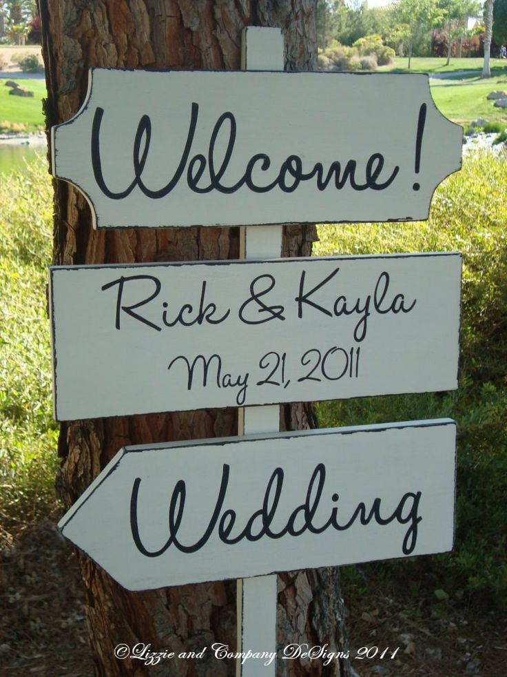 DiReCTioNaL WeDDiNg SiGnS - Handwriting/Modern Style Lettering - CuSToM WeLCoMe ReCePTioN SiGn - Wedding Arrow Signs - 4ft Stake - IVORY. $84.95, via Etsy.
