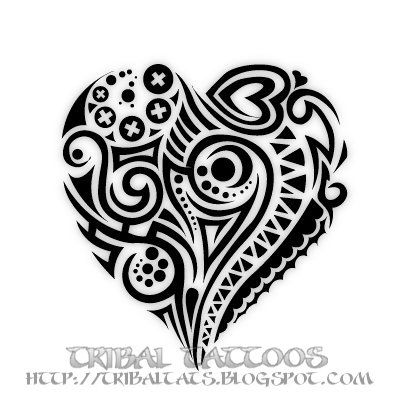 10 Unique Designs of Tribal Heart Tattoos Pictures