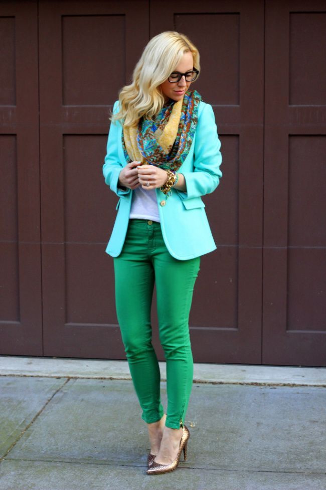 brooklyn blonde color punch (J Crew Blazer, Zara Jeans (similar color), Lucky Brand Scarf, Loeffler Randall Shoes. Bracelets: J Crew, LA Kahn Designs c/o.)