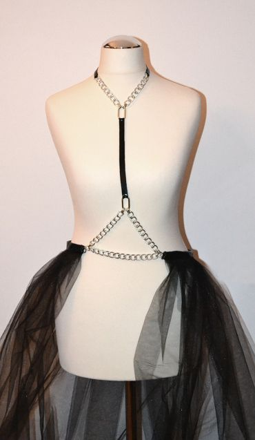 Black lacquer leather harness with silver ring, silver chain and black maxi veil skirt https://kivaleatheraccessories.wordpress.com/2015/01/19/glamorous-harnesses/