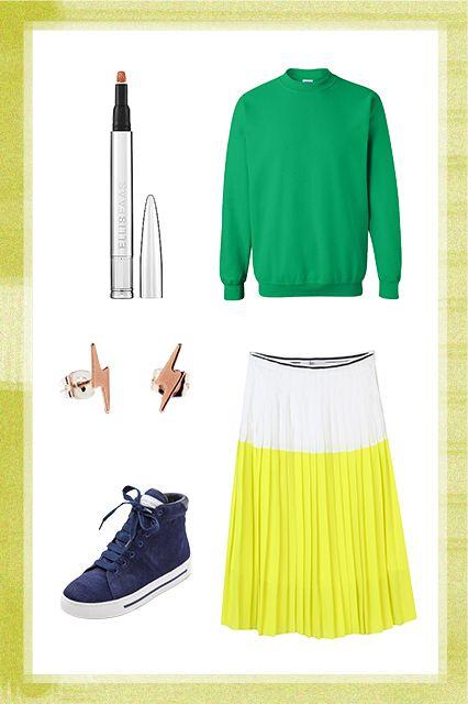 Skirt sweatshirt combo http www refinery29 com outfit ideas slide4