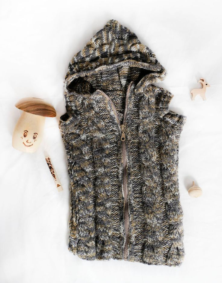 Handmade knitted hooded waistcoat for a  toddler children boys girls, great gift, hand knit outwear, crochet sweater, made to order, for kid by Jacobstoyshop on Etsy