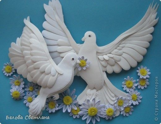 Картина, панно Бумагопластика, Квиллинг: Голуби ко дню любви, семьи и верности Бумага. Фото 1