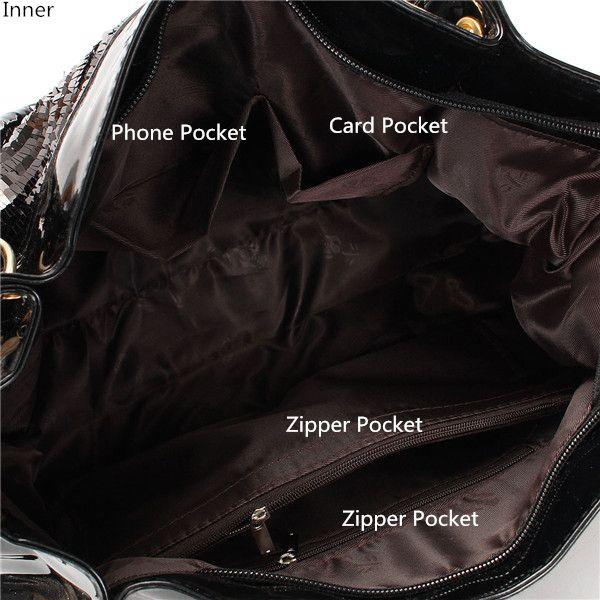 Women Luxury Paillette Patent-Leather Handbag Casual Large Crossbody Shoulder Bag