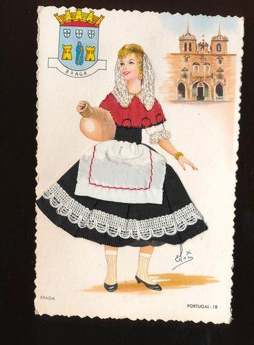 Braga Silk Embroidered Ethnic Lady with Clay Jug Postcard Portugal GGG135   eBay