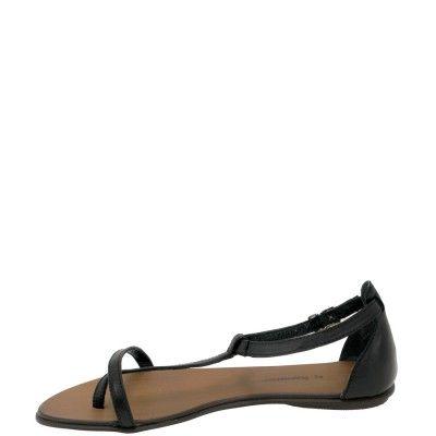 Hammer sandały rzymianki z piętą skóra naturalna licowa czarna