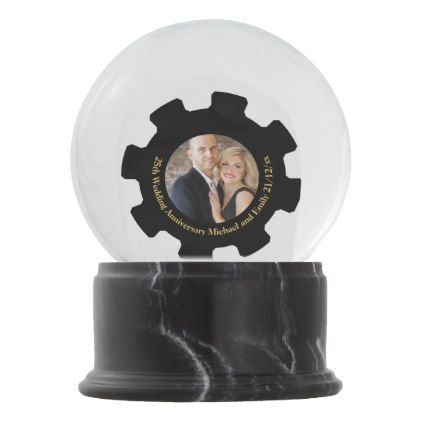 PHOTO Wedding Anniversary Black Gold Marble Snow Globe - gold wedding gifts customize marriage diy unique golden