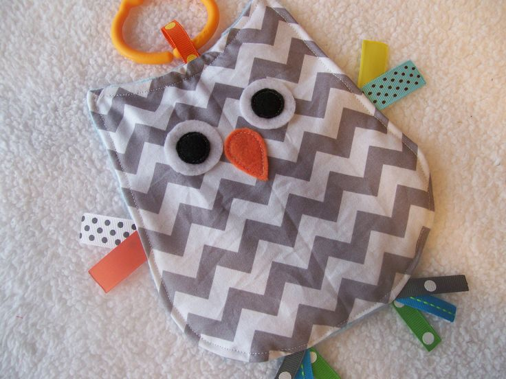Gray Chevron Crinkle Crackle Sensory Owl Taggie Toy