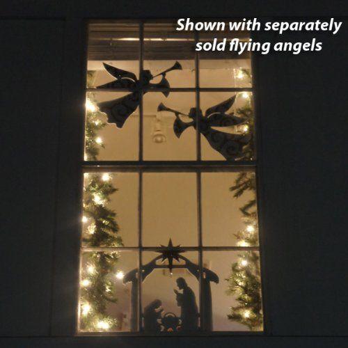 Teak Isle Christmas Window Decoration, Nativity Scene