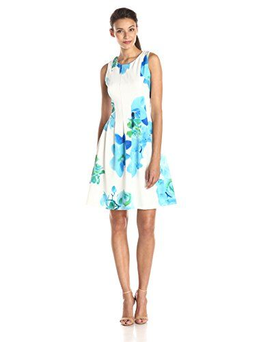 Calvin Klein Women's Printed Floral Fit and Flare Dress, Manganese/Multi, 8
