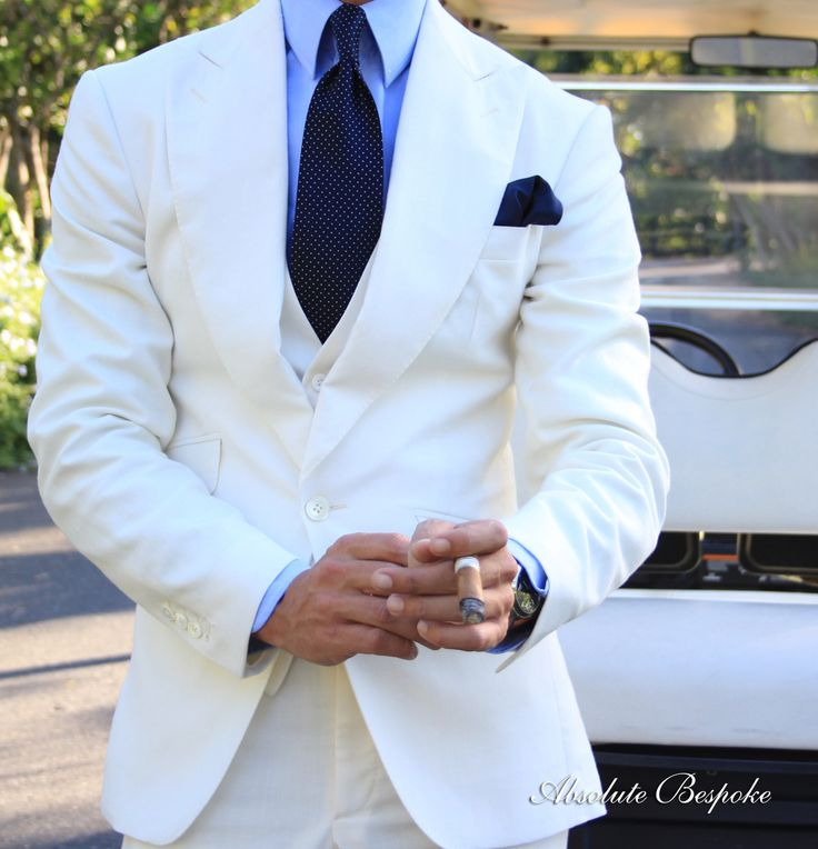 White linen suit and tie by Absolute Bespoke. Casa de Campo, Dominican Rep.