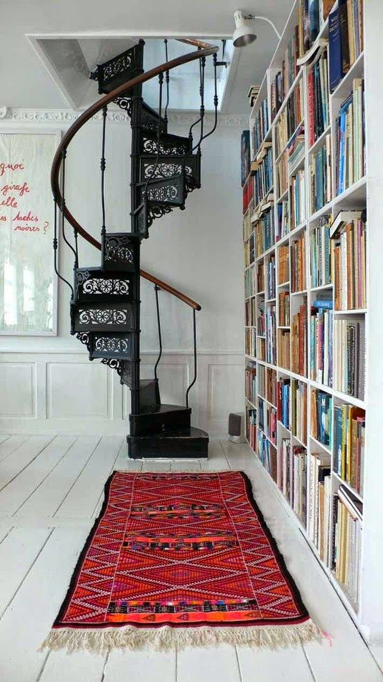 Love this spiral stairs - inspiring and beautiful interior design, simple chic, New York Loft style