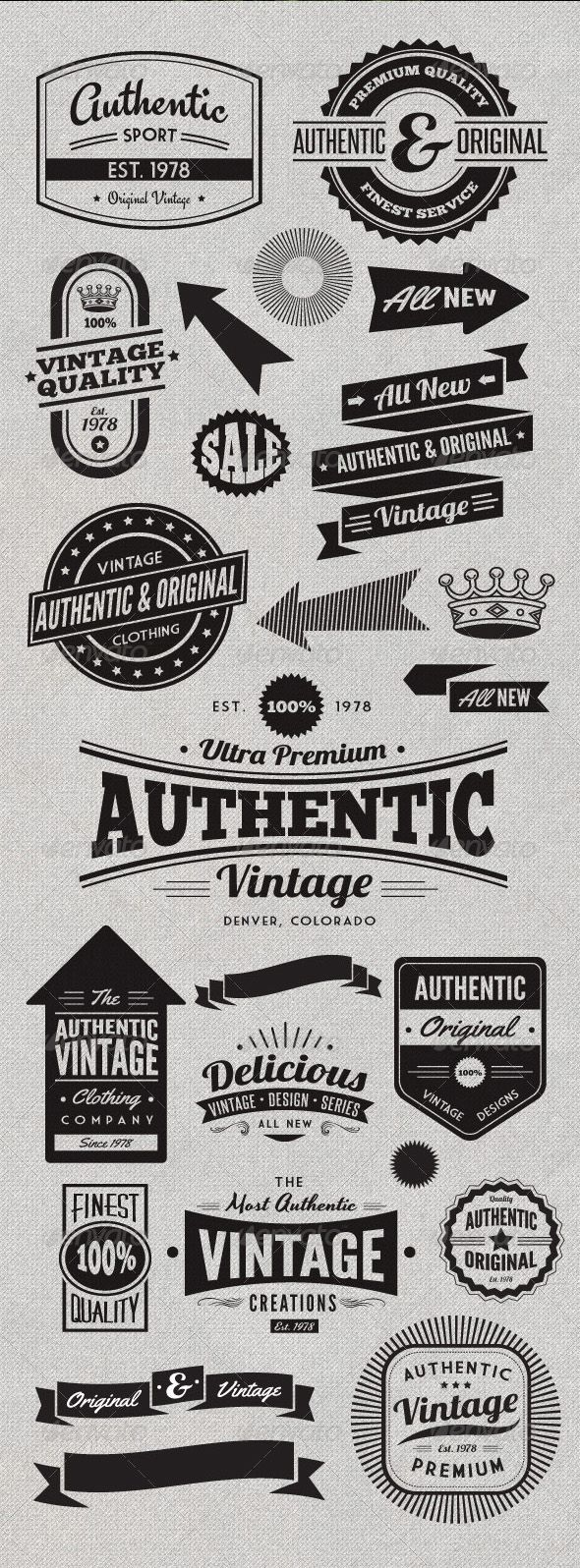 Vintage Style Badges and Logos
