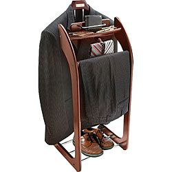 Mahogany Clothes Valet Stand. Fancy man preps his suit.