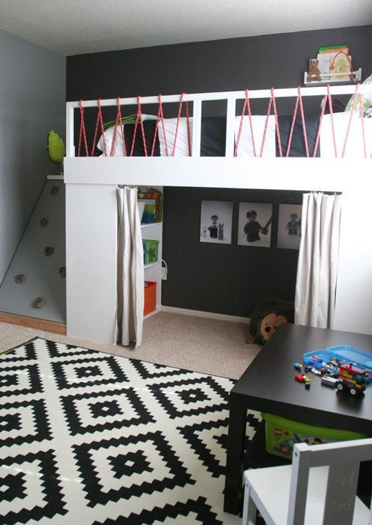 mommo design: LOFT BEDS ***LOVE the use of bungee cords on the railing! Also, hello rock wall! Awesome!