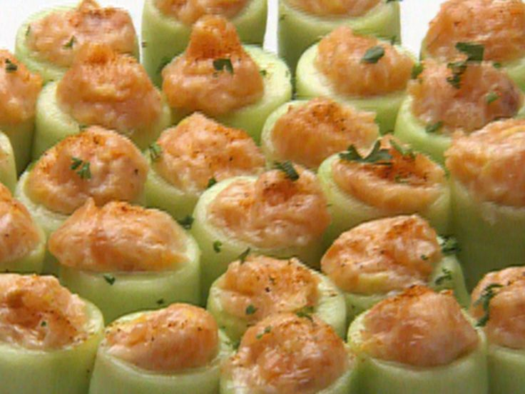 Cucumber Canoes of Salmon Mousse recipe from Robert Irvine via Food Network