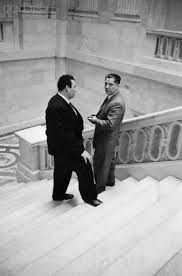 Jimmy Hoffa, boss of the Teamsters and associate of mobsters (right), talks with his own muscle guy, Barney Baker. In November 1963, evidence shows that Baker placed several lengthy calls to Jack Ruby. www.lberger.ca