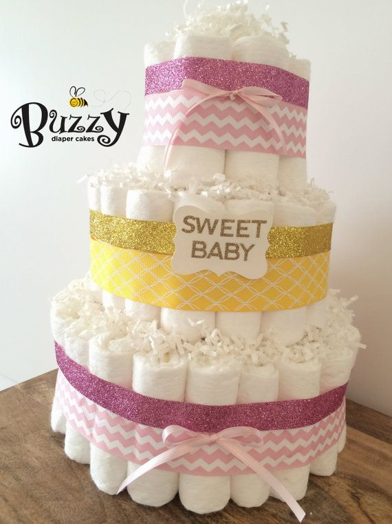 Baby Shower Yellow And Pink ~ Yellow and pink diaper cake for baby girl shower decor