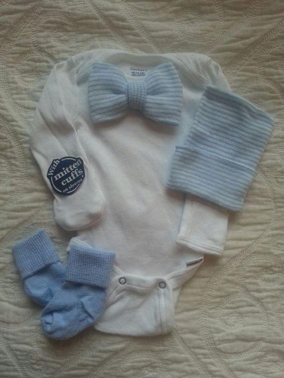 Newborn Boy Bow-tie onesie with matching hat and sock set. Blue & White Striped Bow-tie. Newborn Boy Gift Set. Newborn hospital beanie. Newborn