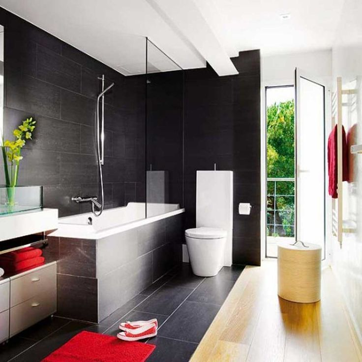 Small Modern Bathroom Design Ideaswith black wall tile feat modern tub shower combo idea also red shag rug