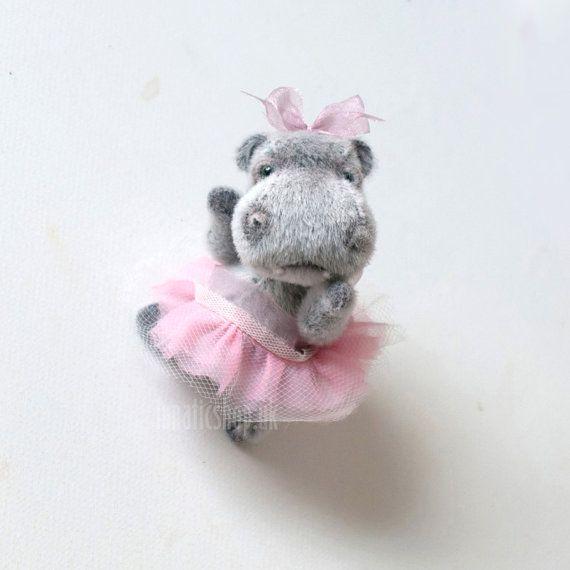 Artist bear Ballerina Hippo collectable bear 4'' 10 by LunaticShop