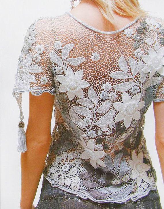 Knite Crochet patterns Free form, Irish lace, jackets, wedding\coctail dress…