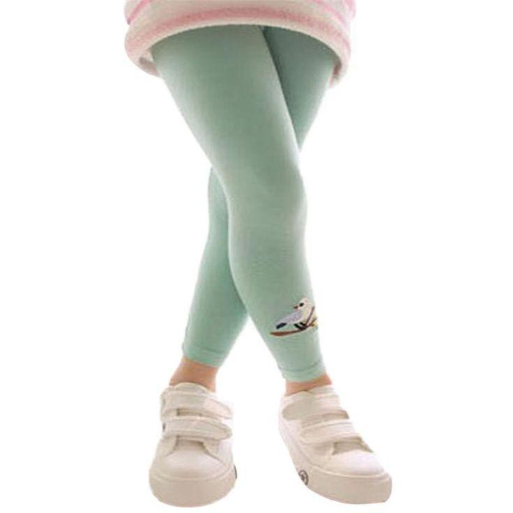 Нежный новых детей девушки детские хлопковые брюки модели птица стретч теплый LeggingsTrousers nor5915