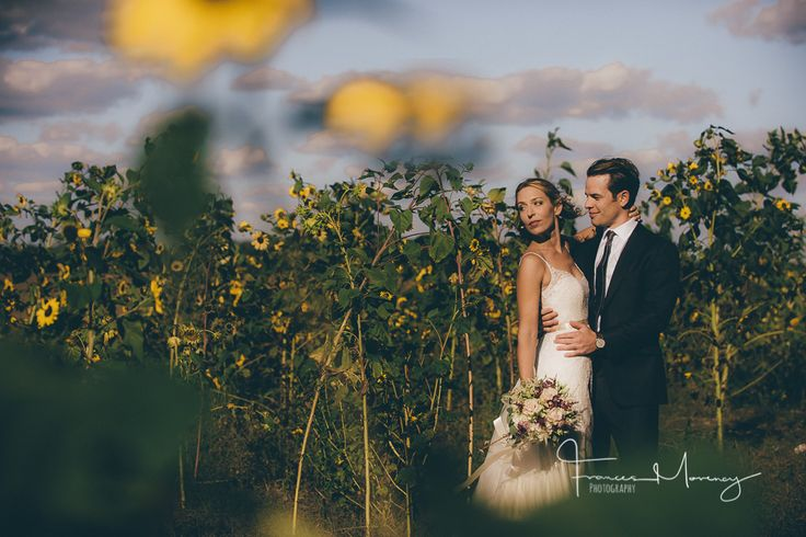 Journalistic wedding photography of bride and groom with sunflowers