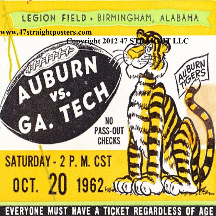 Auburn football ticket Drink Coasters made from authentic vintage Auburn football tickets! http://www.shop.47straightposters.com/