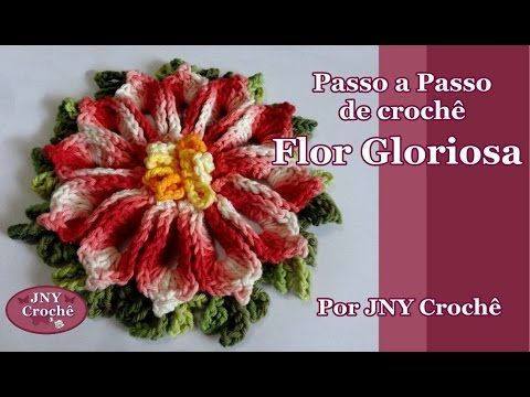 Passo a Passo Flor de Crochê Mega Girassol Barroco por JNY Crochê - YouTube