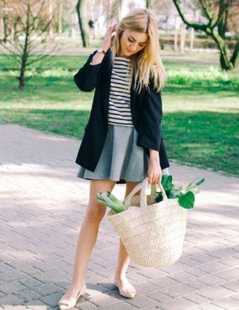 skirt, stripes, cardigan