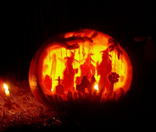 carved pumpkin - love the depth