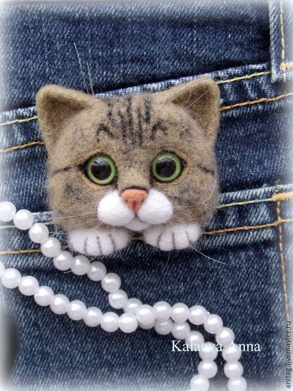 """Купить Котик брошь """"Барсик"""") - разноцветный, котик, кот, котоброшь, котоброшка, брошь"""