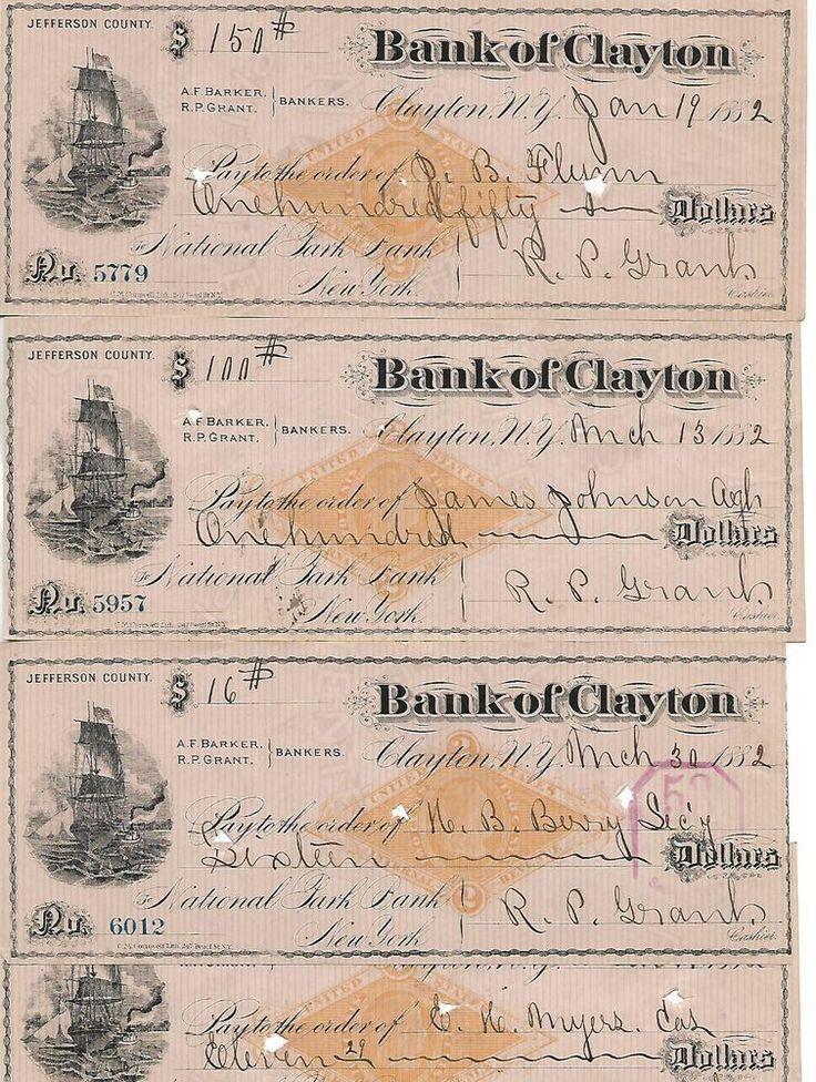 8 US 1882 Vintage Old Antique Bank Checks Clayton New York Bank Check,
