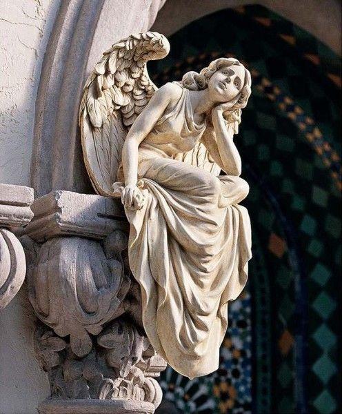Wonderful Seated Angel Statue   Stone