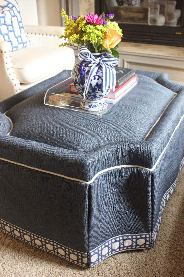 Living Room Tour [Lauren] Navy Ottoman CR Laine fabric with fretwork trim