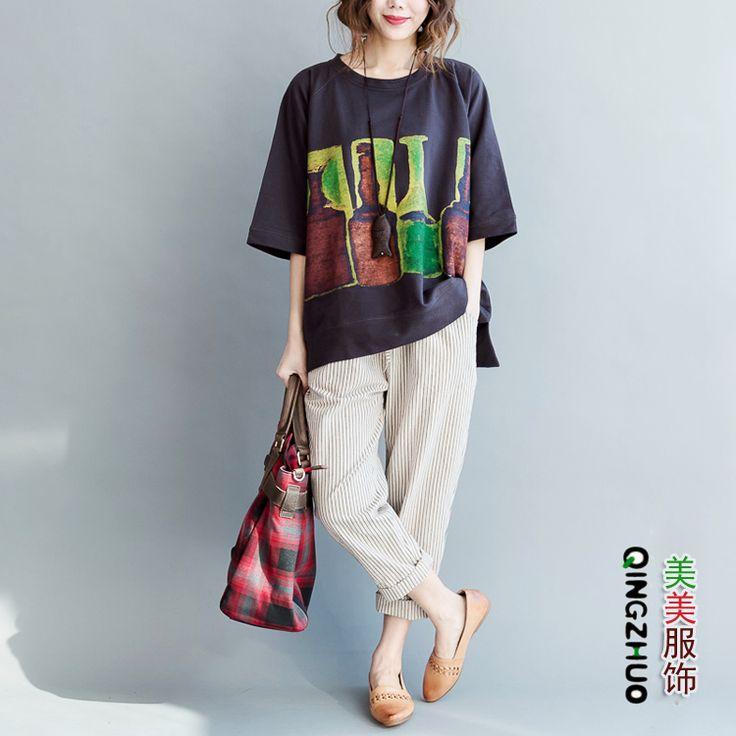 Удобрение для увеличения размера женских коротких рукавных литературных блузок жира летнего хлопка 200 фунтов жира мм тонких печатных футболок - Taobao