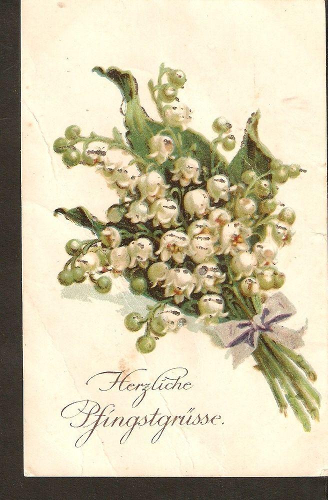 Carte postale Allemagne Salutations de Pentecôte heureux muguet mai-lis 1917